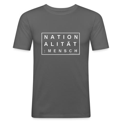 Slim T-Shirt Nationalität: MENSCH graphit/white - Männer Slim Fit T-Shirt