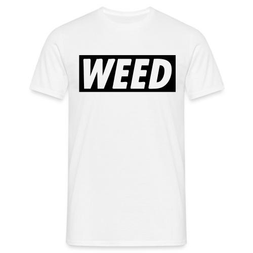 Camiseta básica blanca WEED con dibujo detrás - Camiseta hombre
