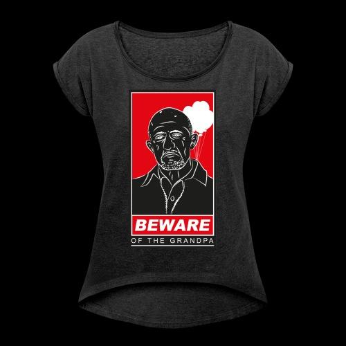 Grandpa Mike girl grey - Frauen T-Shirt mit gerollten Ärmeln