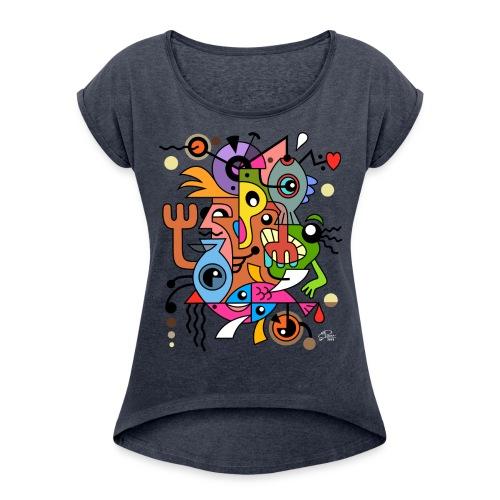 Tee-shirt Femme Manches retroussées Design Art. - T-shirt à manches retroussées Femme