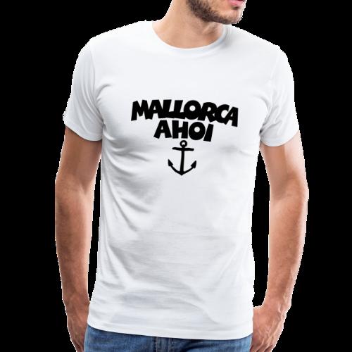 Mallorca Ahoi T-Shirt (Herren Weiß/Schwarz) Anker - Männer Premium T-Shirt