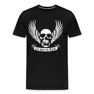 let_there_be_rock_wing_skull_122014_b_2c T-Shirts - Männer Premium T-Shirt
