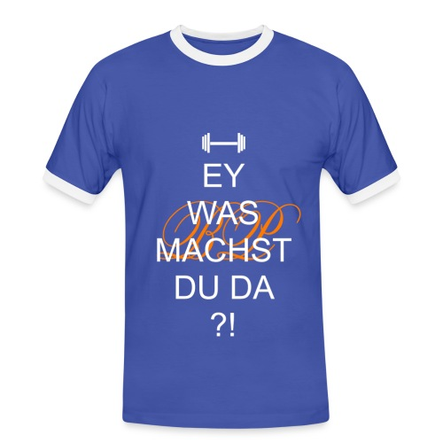 Blau-Weiß - Männer Kontrast-T-Shirt