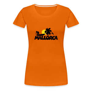 Mallorca T-Shirt mit Surfer, Palme und Sonne (Damen Orange) - Frauen Premium T-Shirt