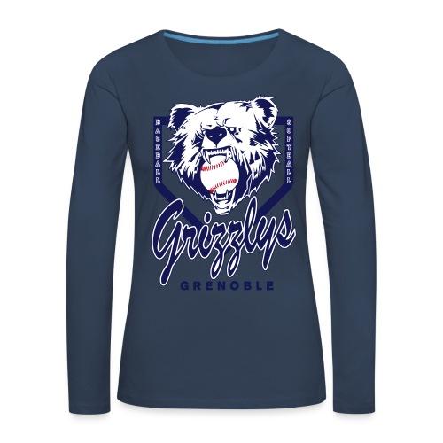 T-SHIRT LONG GIRL GRIZZLYS Navy - T-shirt manches longues Premium Femme