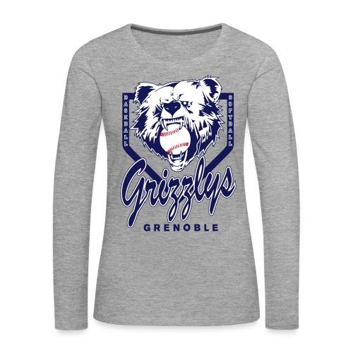 T-SHIRT LONG GIRL GRIZZLYS Grey - T-shirt manches longues Premium Femme
