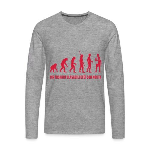 Men's grey long sleeve - evolution of football - Men's Premium Longsleeve Shirt
