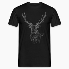 Deer with magnificent antlers of fine lines T-Shirts