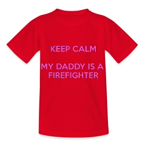 Keep calm my daddy is a firefighter - Kinderen T-shirt