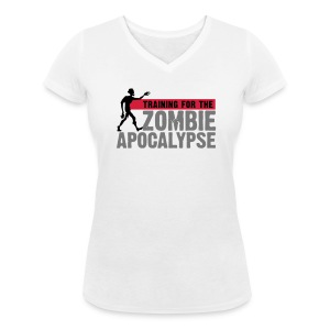 Training for the Zombie apocalypse | womens - Women's Organic V-Neck T-Shirt by Stanley & Stella
