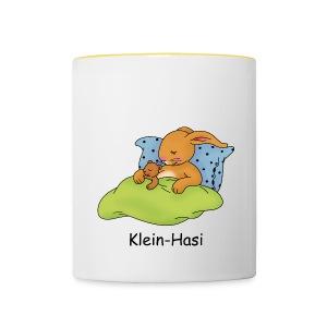 lustge Tasse mit dem Motiv Klein-Hasi schläft mit Bärchen - Tasse zweifarbig