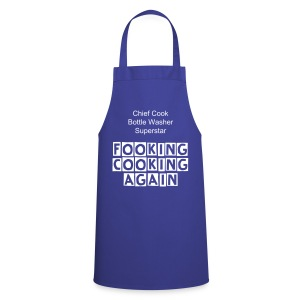 Cooking Apron Blue With Fooking Cooking Again Slogan - Cooking Apron