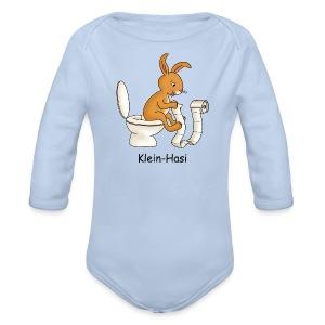 Klein-Hasi auf Toilette, Baby Body - Baby Bio-Langarm-Body