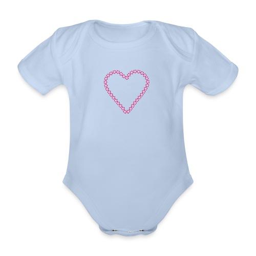 Rompertje hart meisje - Baby bio-rompertje met korte mouwen