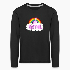 metal music heavy unicorn rainbow funny Long Sleeve Shirts