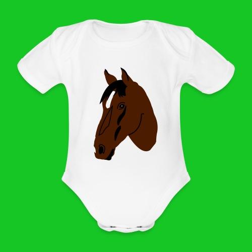 Rompertje paardenhoofd - Baby bio-rompertje met korte mouwen