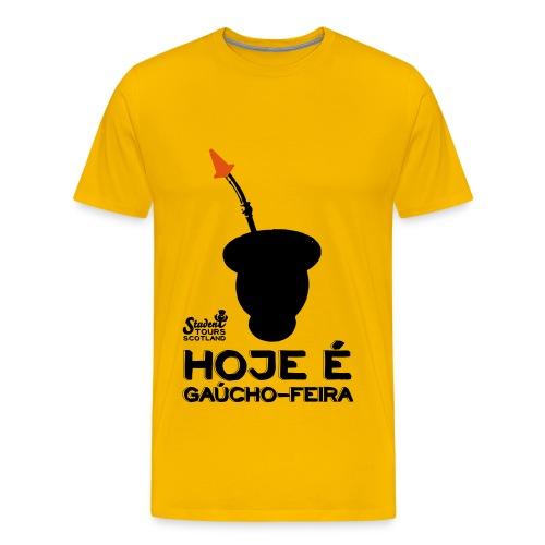 Brazil: Hoje é Gaúcho Feira (Chimarrão) BLACK PRINT - Men's Premium T-Shirt