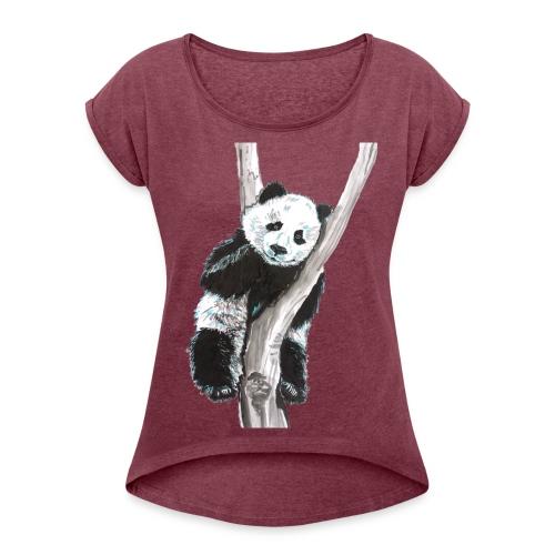 Panda Woman roll on - Frauen T-Shirt mit gerollten Ärmeln