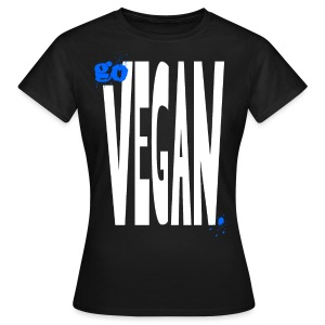 XL go vegan/stay vegan back/front [blue] - Frauen T-Shirt
