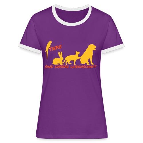 Tierisches Shirt... - Frauen Kontrast-T-Shirt