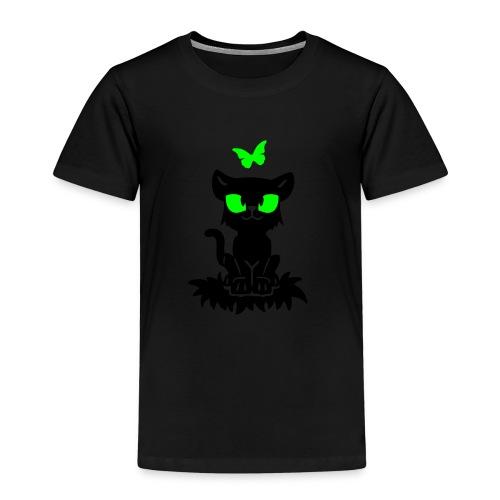 T-Shirt schwarz für Kinder mit sitzendem Blacky und Schmetterling - Kinder Premium T-Shirt