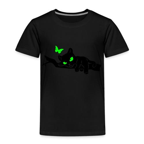 T-Shirt schwarz für Kinder mit auf Ast liegendem Blacky, mit Schmetterling - Kinder Premium T-Shirt