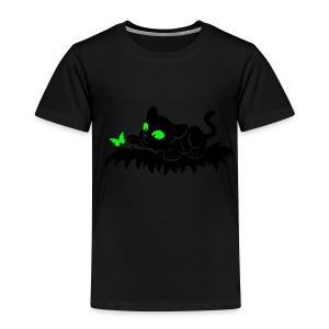 T-Shirt schwarz für Kinder mit spielendem Blacky und Schmetterling - Kinder Premium T-Shirt