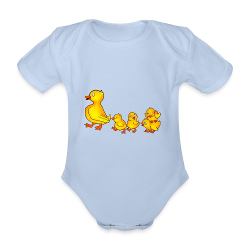 Duckling Run - Organic Short-sleeved Baby Bodysuit