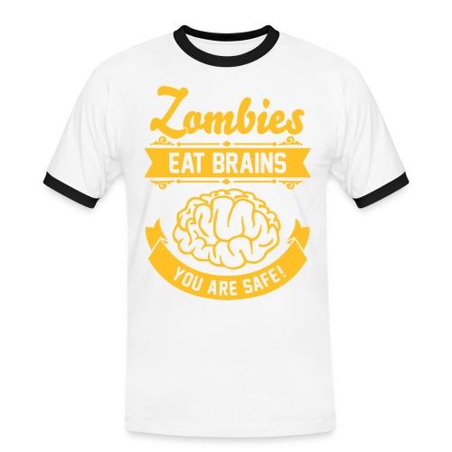 Männer Kontrast-T-Shirt - Zombie,Zocken,Spieler,Spiel,Skill,Play,PC,Online,Offline,Noob,Nerd,Loot,Level,Let's Shirt,Konsolen,Geschenk,Geek,Gaming,Gamer,Fressen,Essen,Computer,Cheats,Attacke,Apokalypse