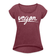 T-Shirts ~ Frauen T-Shirt mit gerollten Ärmeln ~ simply: vegan