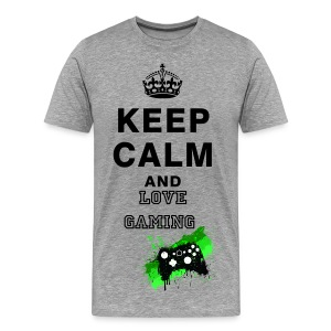 KEEP CALM AND LOVE GAMING - Herre premium T-shirt