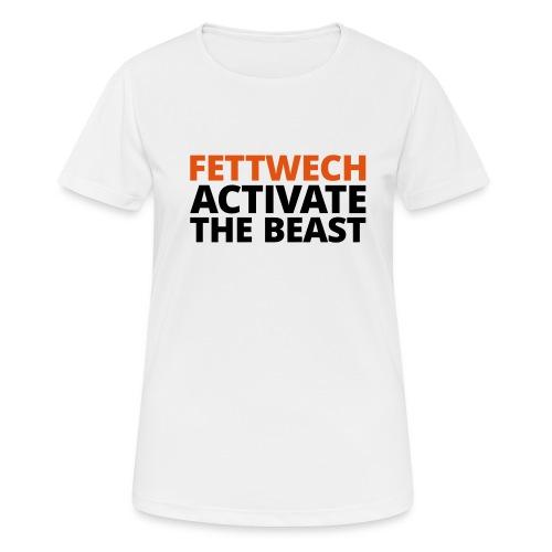 Frauen T-Shirt atmungsaktiv - Fettwech Activate the Beast Fanshirt. Speziell für Carina und alle Fettwech Fans :-) Ein T-Shirt für den Einsatz während der Freeletics Workouts, sowie Freestyleworkout, CrossFit, Calisthenics, Tabata und anderen Bodyweight und Street Workouts. Dieses ultraleichte Sport-Shirt spielt garantiert auf Deiner Seite. Das Shirt besitzt die spezielle Just Cool Neoteric™-Technologie für eine optimierte Feuchtigkeitsaufnahme. Features: Schnelltrocknend und atmungsaktiv (140 g/m²). Hochwertige Verarbeitung mit doppelten Nähten. Kragen- und Ärmeleinfassungen sind aus Shirt-Material. Gedrucktes Nackenlabel und Nackenband. Material: 100 % Polyester