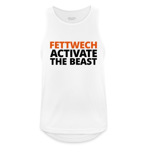 Männer Tank Top atmungsaktiv - Fettwech Activate the Beast Fanshirt. Ein Tanktop für den Einsatz während der Freeletics Workouts, sowie Freestyleworkout, CrossFit, Calisthenics, Tabata und anderen Bodyweight und Street Workouts.