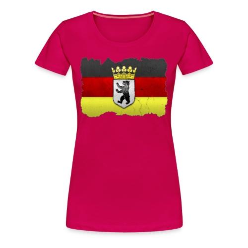 Berlin Wappen mit Deutschland Fahne in Stein gemeißelt Shirt - Frauen Premium T-Shirt