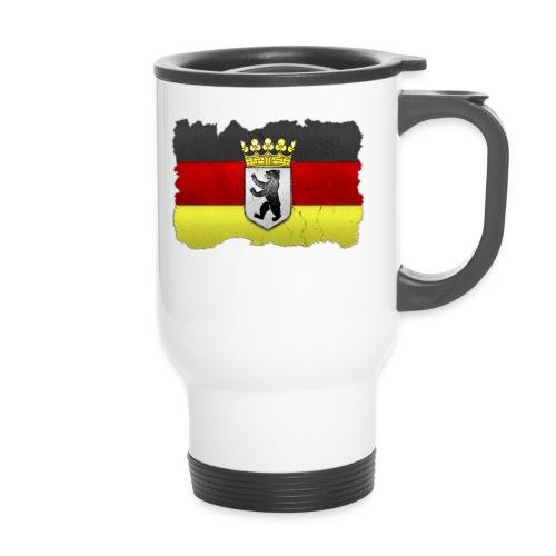 Berlin Wappen mit Deutschland Fahne in Stein gemeißelt Tasse - Thermobecher