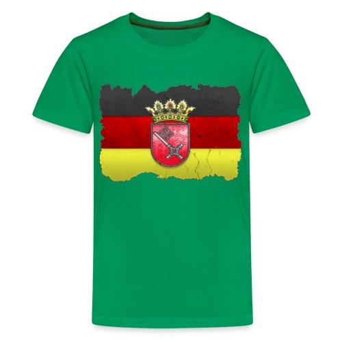 Bremen Wappen mit Deutschland Fahne in Stein gemeißelt Shirt - Teenager Premium T-Shirt