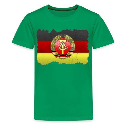 DDR Wappen mit Deutschland Fahne in Stein gemeißelt Shirt - Teenager Premium T-Shirt