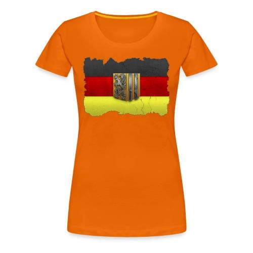 Dresden Wappen mit Deutschland Fahne in Stein gemeißelt Shirt - Frauen Premium T-Shirt