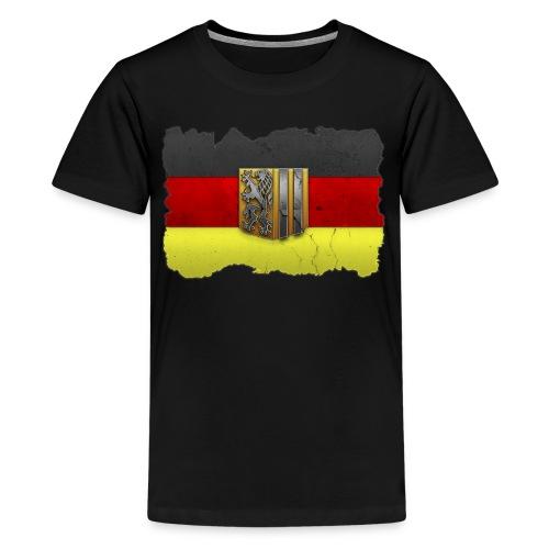 Dresden Wappen mit Deutschland Fahne in Stein gemeißelt Shirt - Teenager Premium T-Shirt