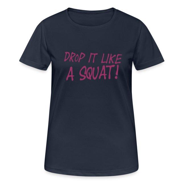 Drop it like a squat #1 - Motiv vorne, Rot Glitzer
