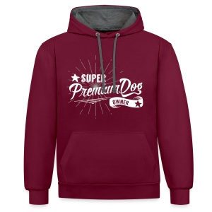 Super-Premium-Dog-Owner (Flockdruck) - Kontrast-Hoodie