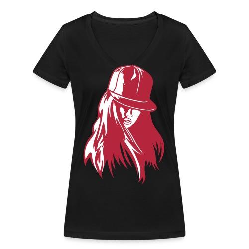 Cap - Frauen Bio-T-Shirt mit V-Ausschnitt von Stanley & Stella