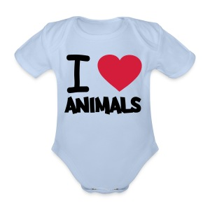 baby clothes 'i love animals' - Organic Short-sleeved Baby Bodysuit