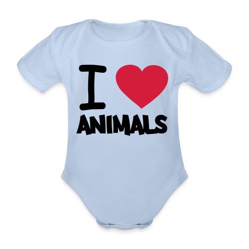 baby clothes 'i love animals' - Organic Short-sleeved Baby Bodysuit