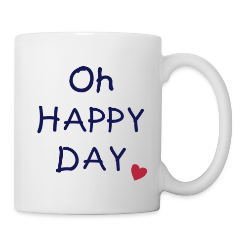 Kaffeebecher Oh Happy Day in navy mit rotem Herz - Tasse