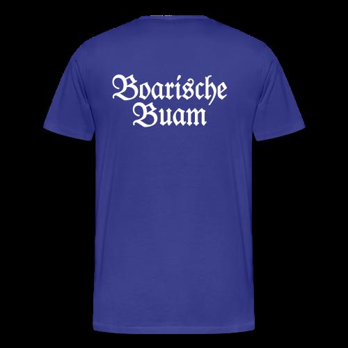 Boarische Buam T-Shirt (Blau/Weiß) Rücken - Männer Premium T-Shirt