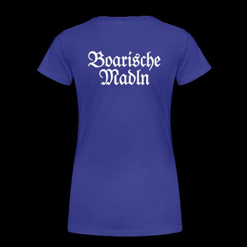 Boarische Madln T-Shirt (Blau/Weiß) Rücken - Frauen Premium T-Shirt