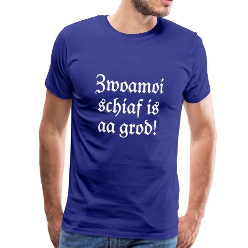 Zwoamoi schiaf is aa grod T-Shirt (Herren Blau/Weiß) - Männer Premium T-Shirt