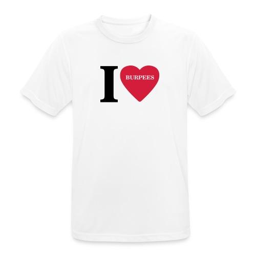 I Love Burpees #1 - Motiv vorne, Schwarz / Rot - Männer T-Shirt atmungsaktiv