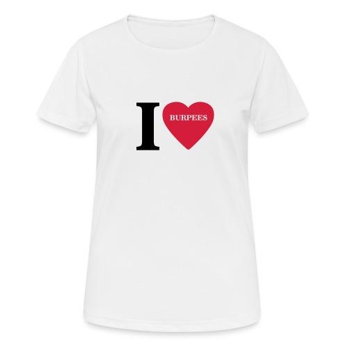 I Love Burpees #1 - Motiv vorne, Schwarz / Rot - Frauen T-Shirt atmungsaktiv